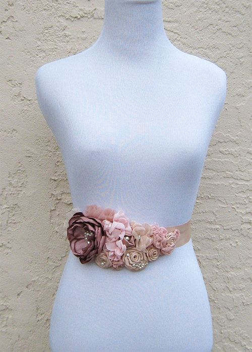 Bridal Sash in Blush Pinks Champagne for wedding, bridesmaid, formal occasion. $94.95, via Etsy.