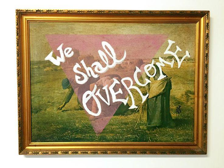 """Impresión sobre lienzo de """"Las espigadoras"""" de Millet. La pobreza, las excluidas... y el grito de lucha de esa canción gospel que fue símbolo del Movimiento por los derechos civiles en EE.UU. Grito de los oprimidos en cualquier momento de la historia. Ese suelo de despojos antes, ese techo de cristal ahora. Una obra feminista, un obra de lucha por la igualdad."""