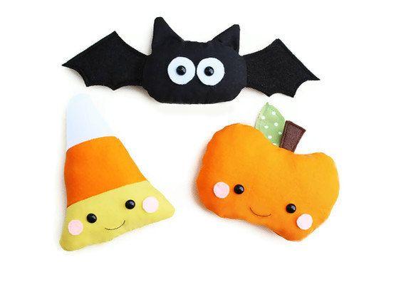 Halloween Sewing Pattern Toy PDF Sewing Pattern Set of Three Kawaii Pumpkin, Bat and Candy Corn. $6.00, via Etsy.