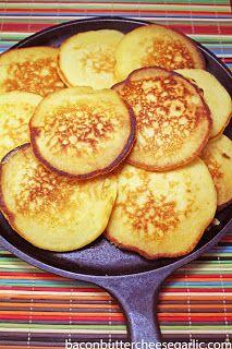 Bacon, Butter, Cheese & Garlic: Southern Cornmeal Hoecakes...like a savory cornbread pancake!