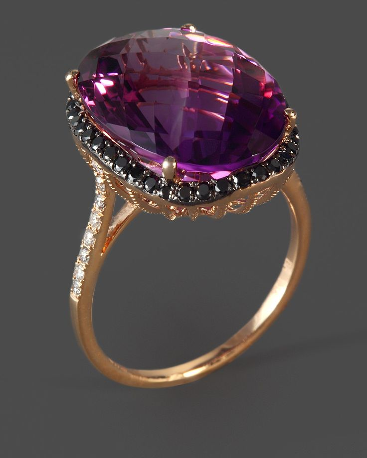Amethyst, Diamond & Black Diamond Cocktail Ring in 14K Rose Gold
