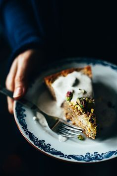 Almond, Pistachio and Pear Upside Down Torte