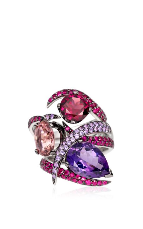 Ruby Aurora Ring Set by Shaun Leane - Spring-Summer 2015  - Amethyst, rubies, pink tourmaline, purple sapphires, and Rhodolite set in 18k white gold (=)