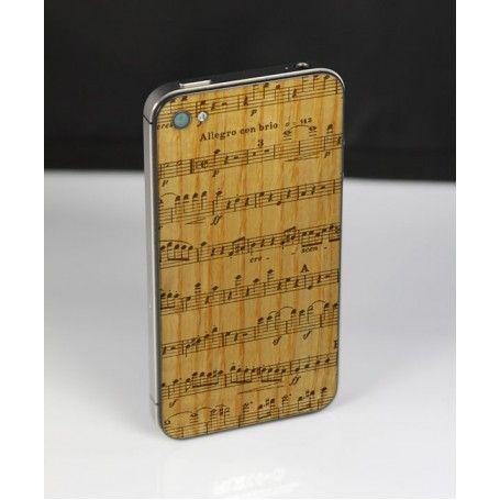 Dřevěný skin s motivem not z jasanu, třešně nebo ořechu na Váš iPhone