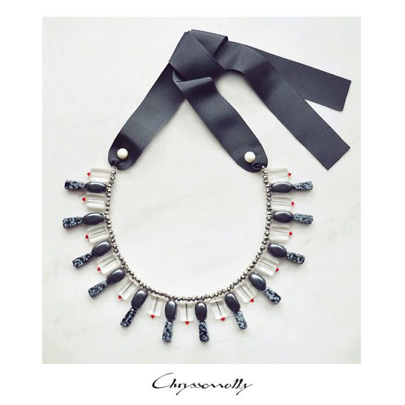 CSC012 - Chryssomally statement ribbon necklace with gray hematite and snowflake obsidian stones, white pearls and red, silver and clear crystals.