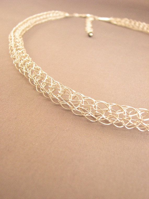 French knitted sterling silver necklace with by RuthieCrochets, £125.00