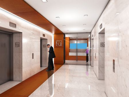 Renderings elevator lobby lobbies and commercial for 30 x 30 interior designs