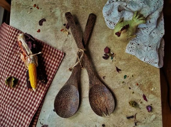 Vintage Wood Serving Utensils Decorative Handmade Spoon Fork Kitchen Dark Wood Rustic Farmhouse Decor Primitive Kitchenware Pair Utensil