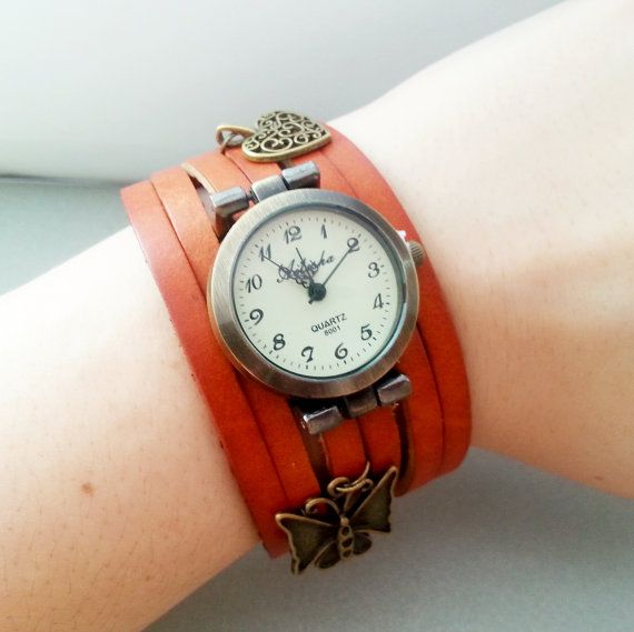 Brown leather long strap watch wrap Love Womens by MKedraDecoupage, $24.00