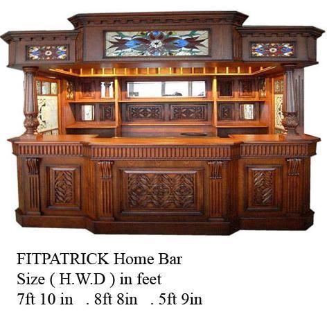 Fitzpatrick Irish Mahogany Home Bar Furniture Tavern Pub Man Cave Solid Home Bar Furniture