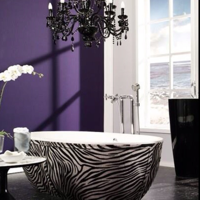 Zebra Bathtub And Elegant Black Chandelier. It Would Be Better If It Was Leopard  Print But The Black Chandelier Goes Better With Zebra.