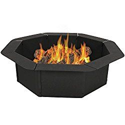 Sunnydaze Octagon Heavy-Duty Steel Fire Pit Ring/Liner Insert for Above or In-Ground DIY Fire Pit, 2.2 mm Thick Steel, 30 Inch Inside/38 Inch Outside Diameter