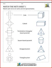 Nets Worksheets - Match the Nets Sheet 1. Match nets to correct 3d shape