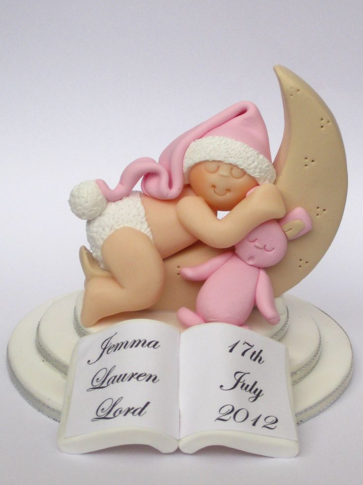 Personalised Christening Baby In The Moon Cake Topper   wowthankyou.co.uk