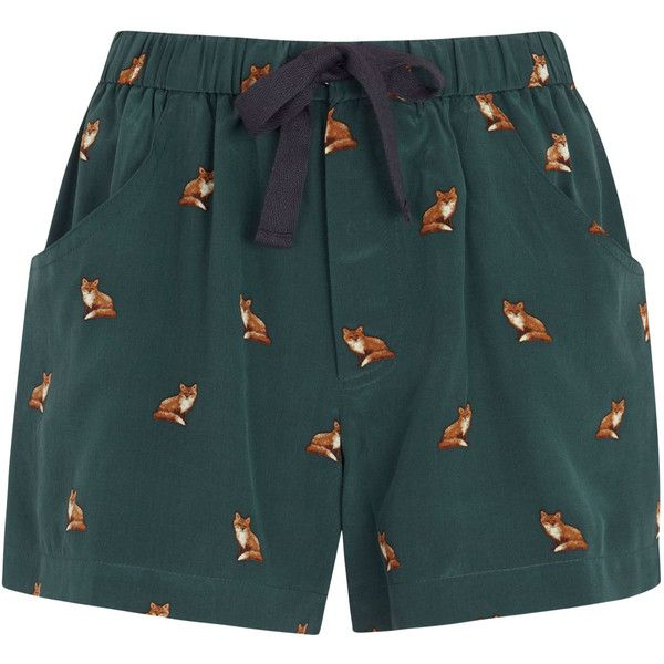 Sea NY Fox Print Silk Shorts (£255) ❤ liked on Polyvore featuring shorts, bottoms, pants, short, green, elastic waist shorts, elastic waistband shorts, green shorts, sea, new york and stretch waist shorts