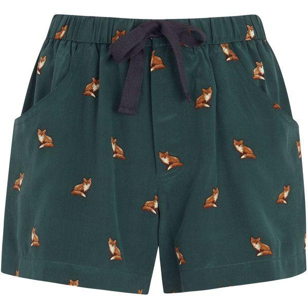 Sea NY Fox Print Silk Shorts (1.470 BRL) ❤ liked on Polyvore featuring shorts, bottoms, pants, short, green, elastic waist shorts, silk short shorts, pull on shorts, short shorts and green shorts