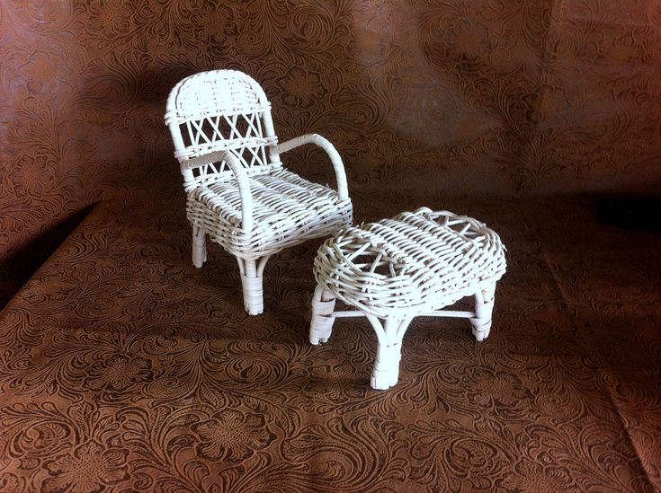 Toy dollhouse furniture Barbie furniture White wicker chair White wicker table Miniature wicker furniture Barbie doll chair and table by STUFFEZES on Etsy
