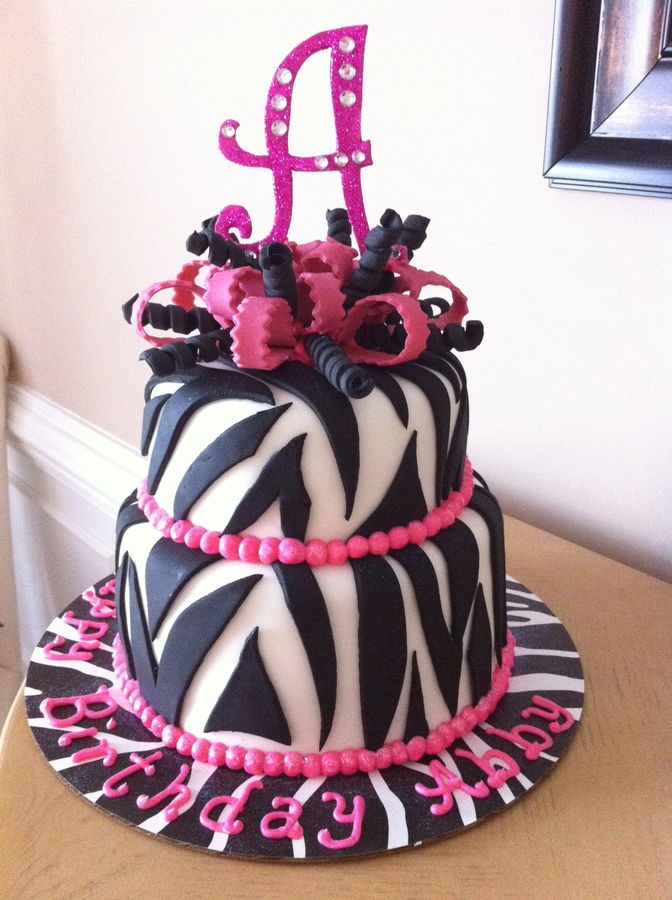 Hot Pink Zebra Birthday Cake i want this for my birthday cake lol the A would be a S tho lol