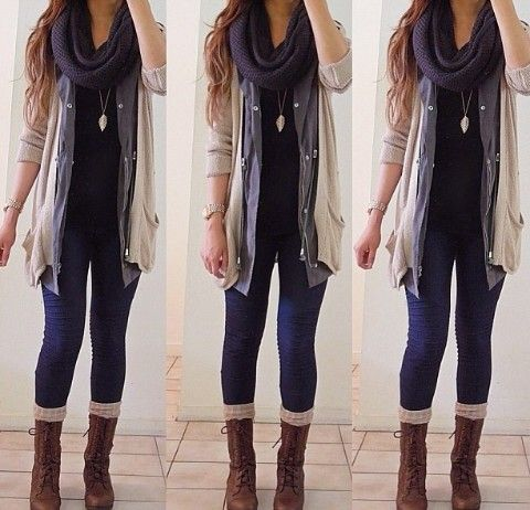 layered cardi and skinny jeans. must buy cardigans...