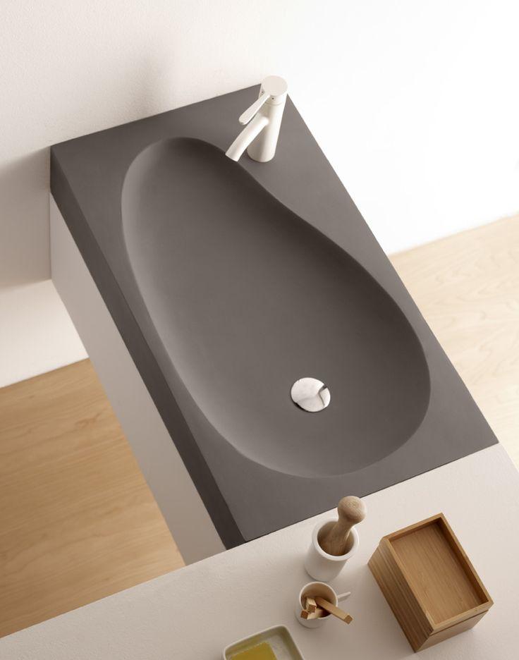 Beranga, lavabo de cemento, Cement & Terrazzo, Natural Series by Bathco. Ref 08018, medidas 800x450x120 mm