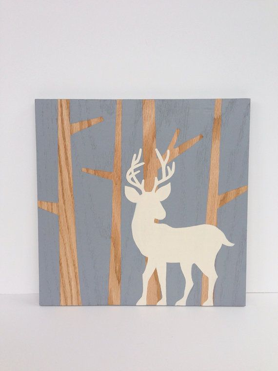 Hand Painted Woodland Nursery Art, Gray and White Nursery Decor, Boys Wall Art, Baby Boy, Woodland Deer, Wood Wall Art, Deer Art on Etsy, $45.00