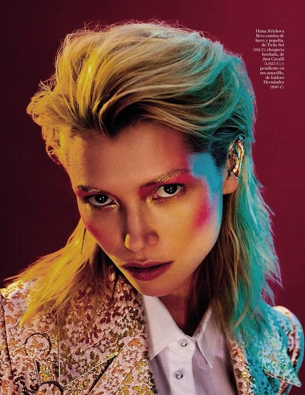 Glam Rock Editorial - Hana Jirickova fronts 'DB.' a vivid glam rock editorial that is lensed by photographer Quentin De Briey. Styling for the chromatic shoo...