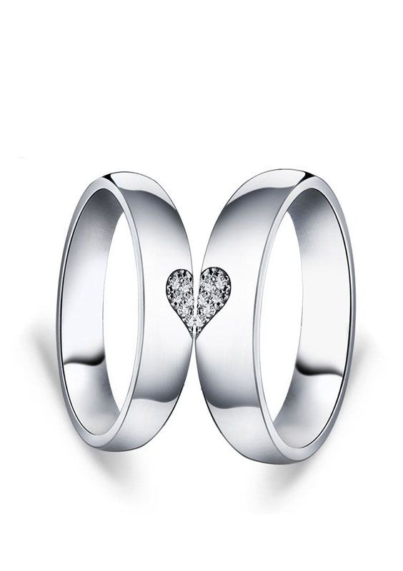 Matching Love Heart Couple Promise Rings Set For Girlfriend Cheap Cubic Zirconia Diamond Two Half