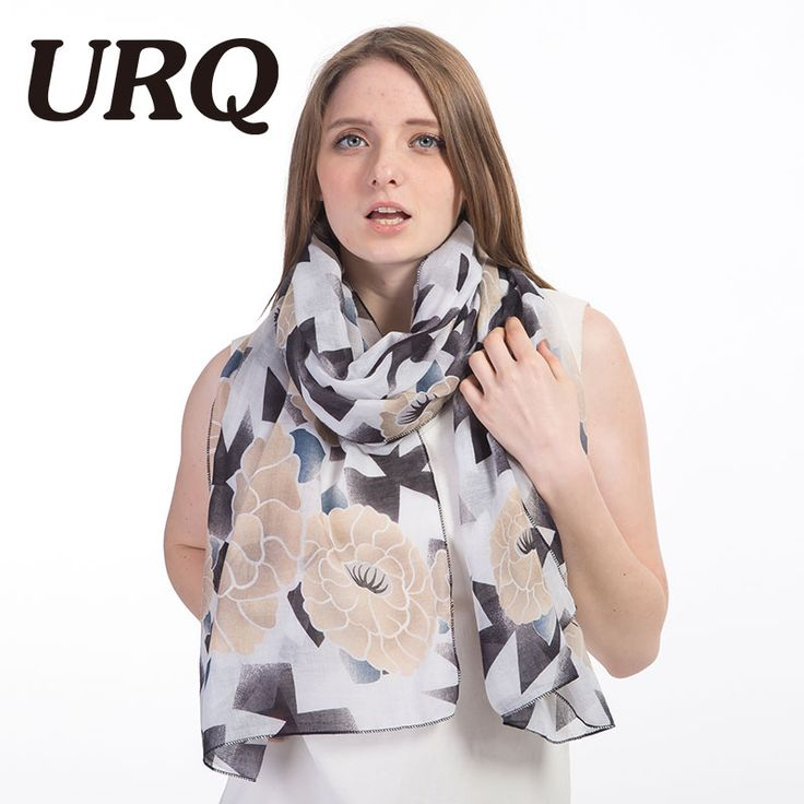[URQ] Spring New Style Woman Long Soft Cotton Scarves Flower Print Large lady Foular Wraps V9A18826