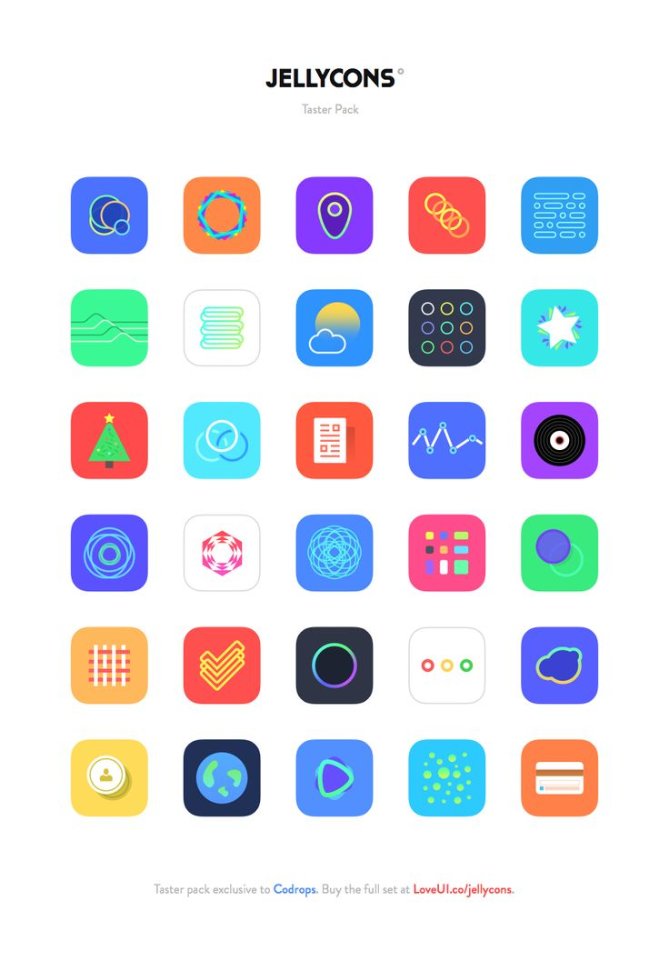 Freebie Jellycons iOS 8 App Icon Set Flats, Ios app and
