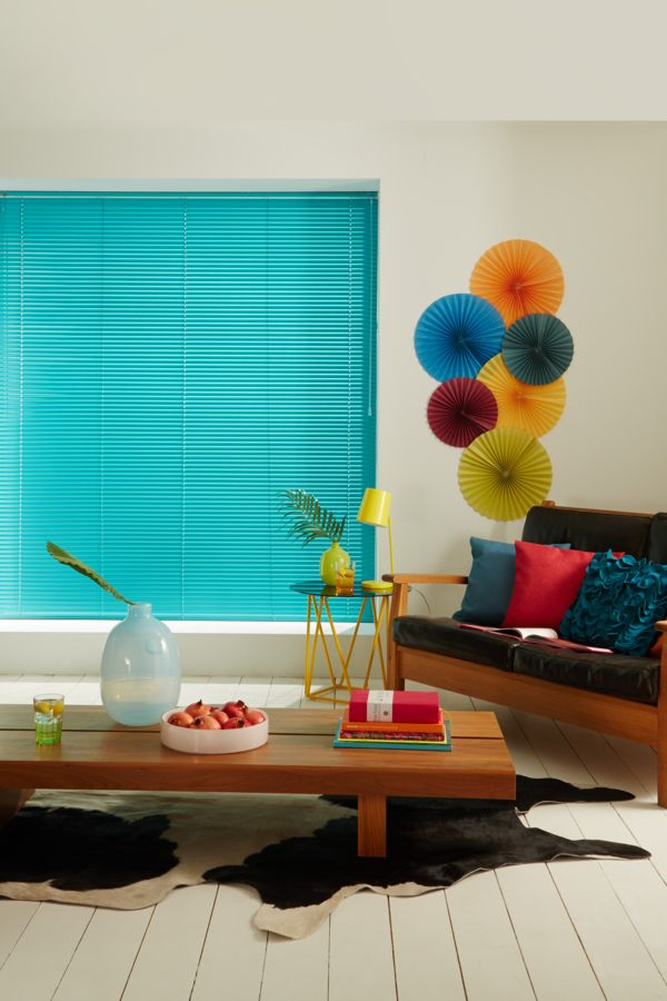 Bright Turquoises bring a beautiful tropical hint to the interior. Perfect to bring colour into a plain decor. Venetian blinds a perfect for this look without overpowering the interior.