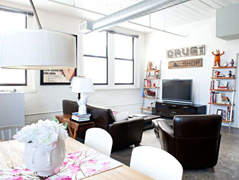 dark leather in a bright room : Carpenter Design Sponge, Living Rooms, Bright Rooms, Living Arrangements, Living Spaces, White Leather, Photo, Brown Leather Sofas, Clean White