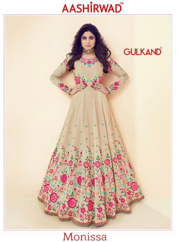 46caa4b5b8 Aashirwad Creation Gulkand Monissa Heavy Royal Silk with Embroidery Work  Long Anarkali Style Party Wear Salwar Kameez at Wholesale Rate
