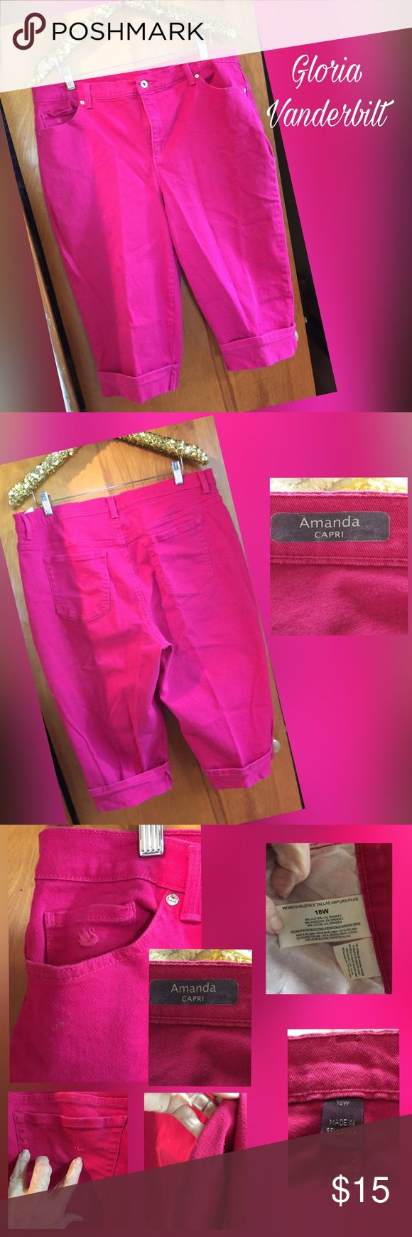 Pink Capris These are heavy ( like denim) capris.  They have the standard 5 pocket design. Amanda by Gloria Vanderbilt.  They show some west, however the pictures really magnify the spots. Lots of wear left Gloria Vanderbilt Pants Capris