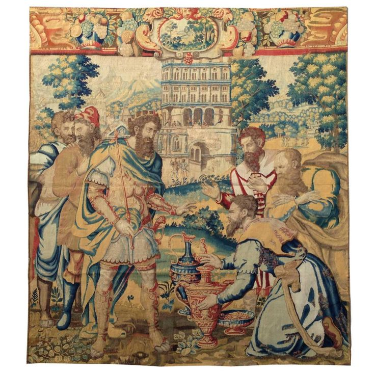 96.46 in.Hx86.61 in.W Tapestry of Brussels, 16th Century, King Franc Clovis I, and the Soisson Vase   From a unique collection of antique and modern tapestries at https://www.1stdibs.com/furniture/wall-decorations/tapestry/