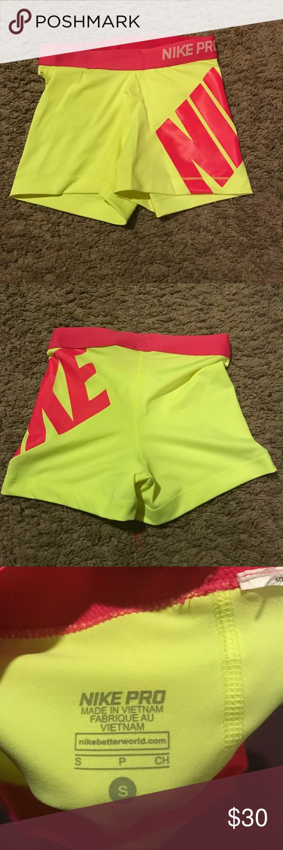 Nike Pro Bright Yellow Spandex Bring neon yellow and pink slender! Only worn once! Nothing wrong with them Nike Shorts