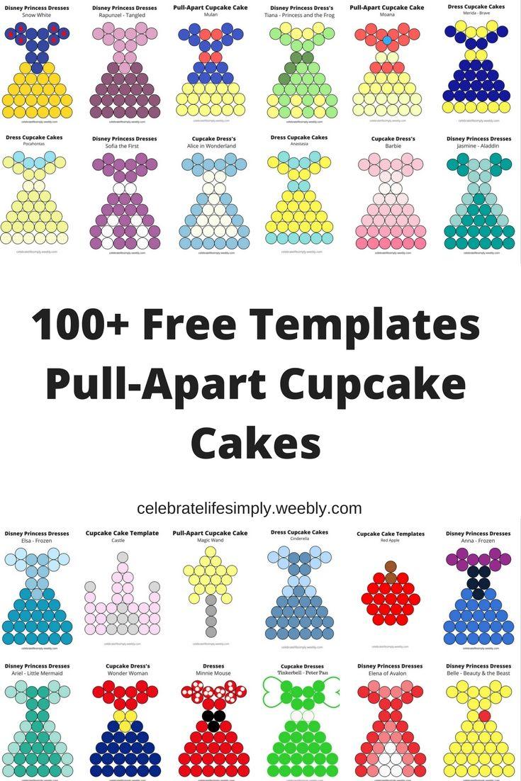 Pull Apart Cupcake Cake Heart Templates