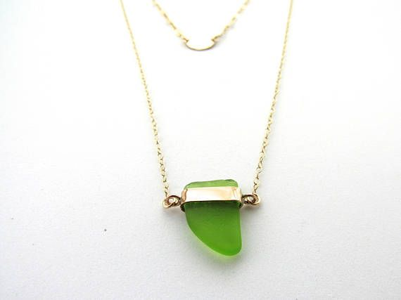Gold filled jewelry layered necklace sea glass beach glass