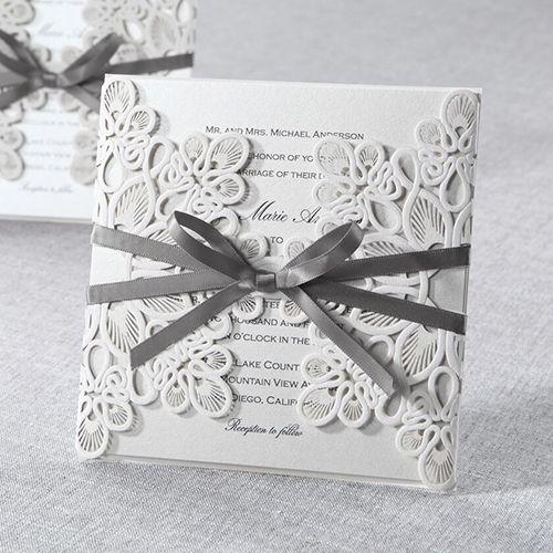 Classic style grey wedding invitation with laser cut wrap @bwedding #wedding #weddinginvitations