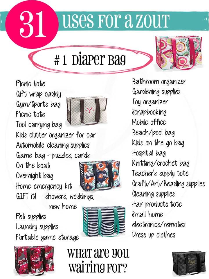 31 uses for Thirty-One's Zip-Top Organizing Utility Tote. Just $10 in January when you order $35!! You can personalize it for just $7 making it even more YOU!