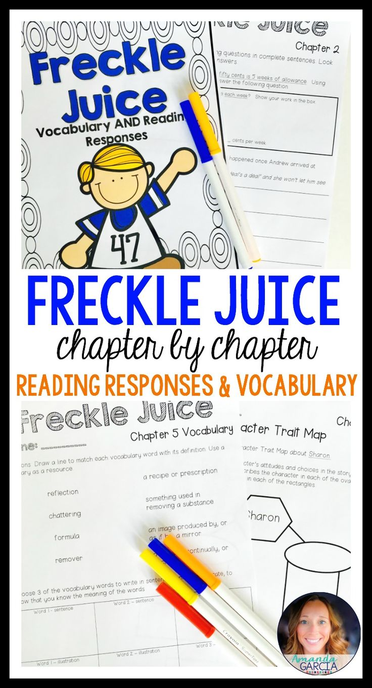 This novel study gives your readers fun, Common Core aligned reading responses and vocabulary words for every chapter of Freckle Juice! These activities are fun for students and perfect for book clubs, literature circles, guided reading, and independent reading.