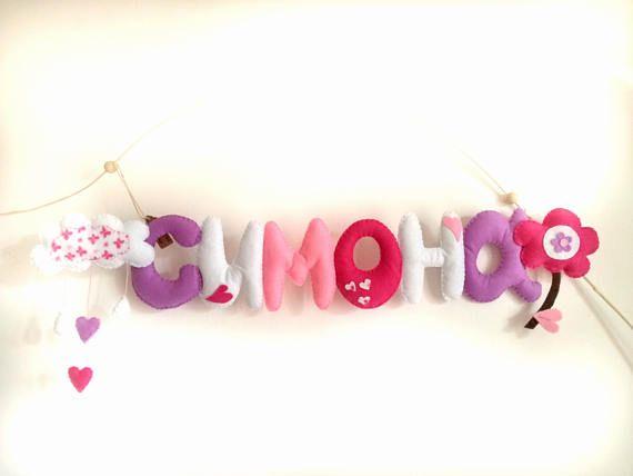 Ghirlanda Nome banner in feltro fiore nuvola kids room decorazioni neonato banner mobil bambino rosa