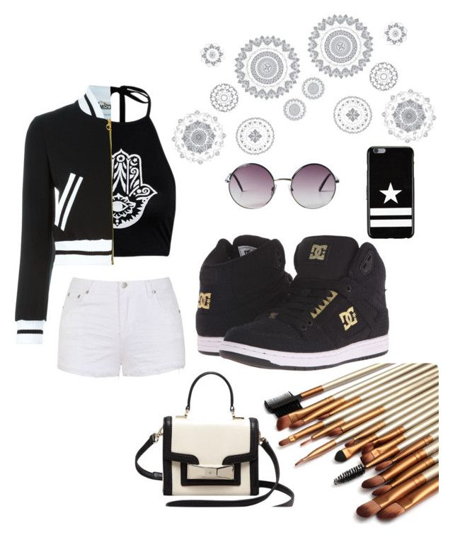 """Black eye girl"" by anicute on Polyvore featuring Ally Fashion, Moschino, WallPops, Givenchy, Monki, DC Shoes and Kate Spade"