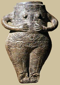 Female figurine clay jar. ht:21cm. Scratched decoration with traces of colour. ca.1800 BC. Vidra, south of Bucharest, Romania NMAB.