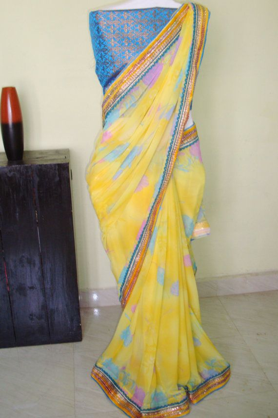 Yellow floral chiffon saree /women fashion party by SabirCreations