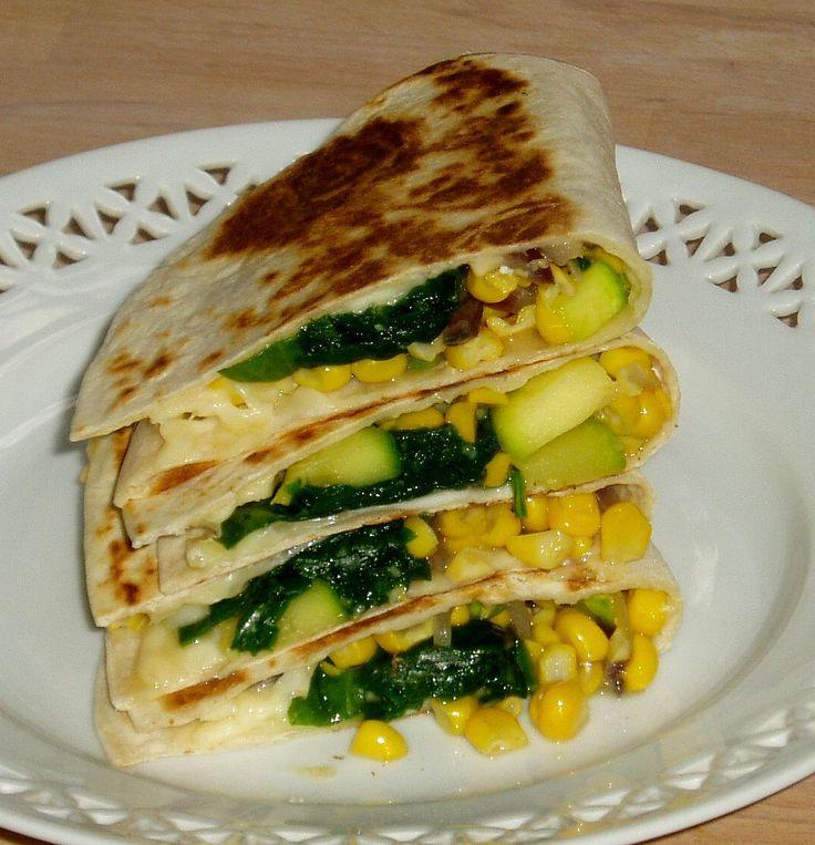Quesadillas med majs, squash, løg, spinat - og ost (Vita Damsø)