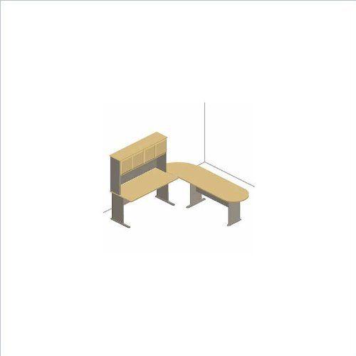 Bush Furniture Series A Left L Shape Wood Office Suite In Light Oak By Bush