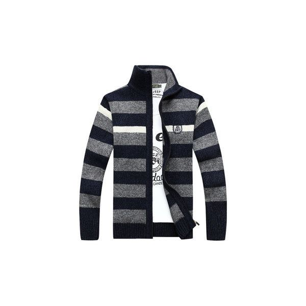 Mens Fall Winter Stripe Pattern Knitted Thick Stand Collar Casual... ($38) ❤ liked on Polyvore featuring men's fashion, men's clothing, men's sweaters, dark blue, men sweaters & cardigans, mens zipper sweater, mens striped sweater, mens cardigan sweaters, mens full zip sweater and mens shawl collar sweater