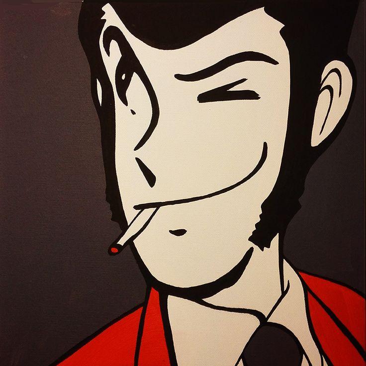 GUERINA ROCCIA, Lupin  #tela #fattoamano #picture #artist #lupin walldecor #homedesign #cartoon #homedecor