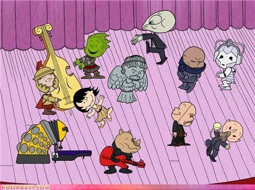 Doctor Who, Peanuts-style.: Charli Brown Christmas, The Piano, Doctorwho, Weeping Angel, Doctors Who, Dr. Who, Charliebrown, Charlie Brown, Peanut Gang