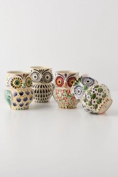 Hand-Painted Folk Owl Mug - eclectic - glassware - Anthropologie